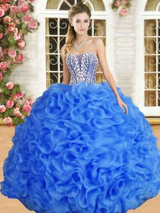 Blue Ball Gowns Sweetheart Sleeveless Organza Floor Length Lace Up Beading and Ruffles Vestidos de Quinceanera