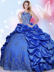 Blue Halter Top Neckline Beading and Lace and Appliques and Pick Ups 15 Quinceanera Dress Sleeveless Lace Up