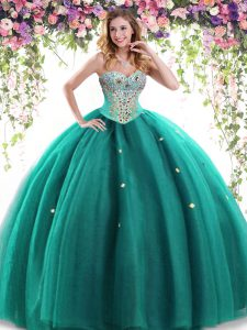 Shining Dark Green Sweet 16 Dresses Military Ball and Sweet 16 and Quinceanera with Beading Sweetheart Sleeveless Lace Up
