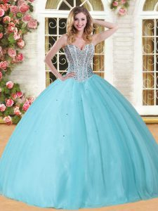 Perfect Baby Blue 15 Quinceanera Dress Military Ball and Sweet 16 and Quinceanera with Beading Sweetheart Sleeveless Lace Up