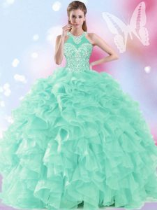 Ideal Halter Top Floor Length Apple Green Quinceanera Dress Organza Sleeveless Beading and Ruffles
