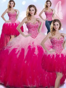 Affordable Four Piece Multi-color Tulle Lace Up Quinceanera Gowns Sleeveless Floor Length Beading and Ruffles