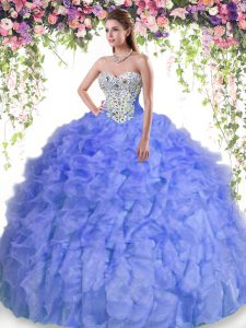 Lavender Sweetheart Lace Up Beading and Ruffles 15 Quinceanera Dress Sleeveless