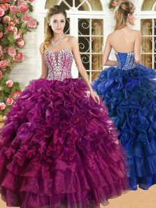 Burgundy Organza Lace Up Sweet 16 Quinceanera Dress Sleeveless Floor Length Beading and Ruffles and Ruffled Layers