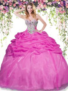Beading and Pick Ups Sweet 16 Dress Hot Pink Lace Up Sleeveless Floor Length