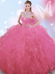 Captivating Rose Pink Ball Gowns Tulle High-neck Sleeveless Beading Floor Length Zipper Sweet 16 Dresses
