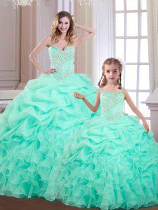 Apple Green Sleeveless Beading and Ruffles and Pick Ups Floor Length Sweet 16 Dress