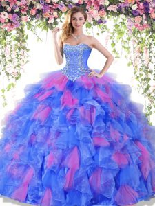 High End Floor Length Ball Gowns Sleeveless Multi-color Sweet 16 Dresses Lace Up