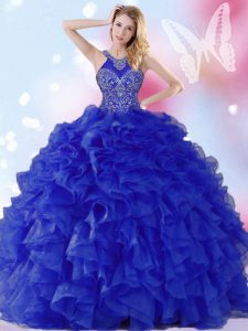 Custom Made Halter Top Royal Blue Ball Gowns Beading and Ruffles Quinceanera Dresses Lace Up Organza Sleeveless Floor Length