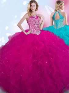 Halter Top Fuchsia Sleeveless Floor Length Beading Lace Up Quinceanera Gown