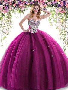 New Style Fuchsia Ball Gowns Tulle Sweetheart Sleeveless Beading Floor Length Lace Up Quinceanera Dress