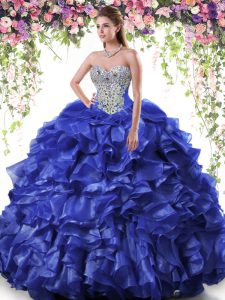 Elegant Royal Blue Lace Up Sweetheart Beading and Ruffles Sweet 16 Dress Organza Sleeveless