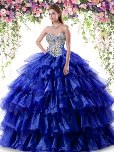Royal Blue Ball Gowns Sweetheart Sleeveless Organza Floor Length Lace Up Beading and Ruffled Layers Quinceanera Gown