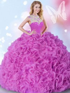 Floor Length Zipper Quinceanera Dresses Fuchsia for Military Ball and Sweet 16 and Quinceanera with Beading and Ruffles
