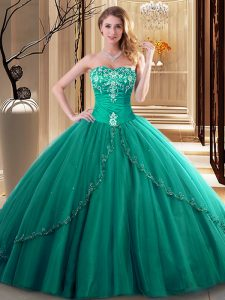 Embroidery Sweet 16 Dresses Dark Green Lace Up Sleeveless Floor Length