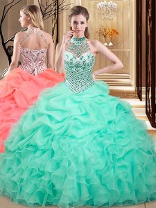Custom Designed Halter Top Organza Sleeveless Floor Length Ball Gown Prom Dress and Beading and Ruffles and Pick Ups
