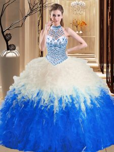 Custom Designed Halter Top Blue And White Tulle Lace Up Quinceanera Gowns Sleeveless Floor Length Beading and Ruffles