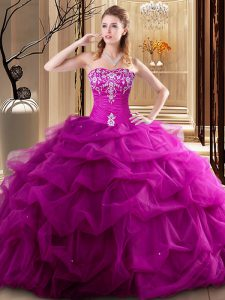Fuchsia Tulle Lace Up Sweetheart Sleeveless Floor Length Quinceanera Gowns Embroidery and Pick Ups