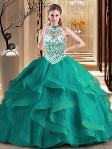 Beautiful Halter Top Sleeveless Tulle With Brush Train Lace Up 15 Quinceanera Dress in Dark Green with Beading and Ruffles
