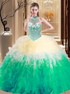 Halter Top Multi-color Sleeveless Floor Length Beading and Ruffles Lace Up Quinceanera Gowns