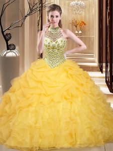 Halter Top Pick Ups Yellow Sleeveless Organza Lace Up Quinceanera Dress for Military Ball and Sweet 16 and Quinceanera
