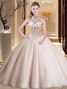 Adorable Halter Top With Train Lace Up Quinceanera Dress Peach for Military Ball and Sweet 16 and Quinceanera with Beading Brush Train