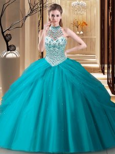 Classical Halter Top Teal Tulle Lace Up Sweet 16 Dresses Sleeveless Brush Train Beading and Pick Ups