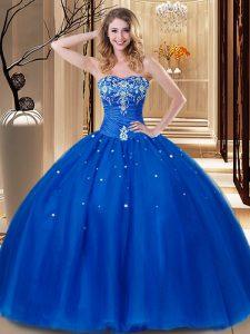 Luxury Sweetheart Sleeveless Sweet 16 Dress Floor Length Beading and Embroidery Royal Blue Tulle