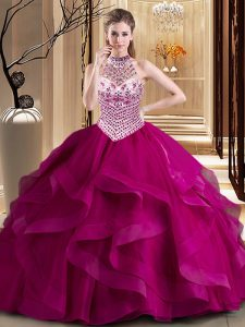 Chic With Train Fuchsia Quince Ball Gowns Halter Top Sleeveless Brush Train Lace Up