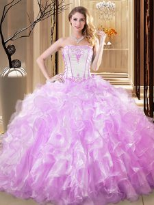 Strapless Sleeveless Quince Ball Gowns Floor Length Embroidery and Ruffles Lilac Organza