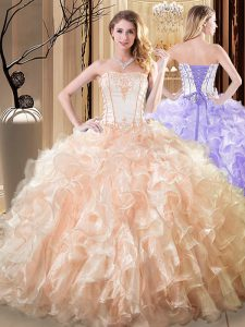 Exceptional Sleeveless Floor Length Embroidery and Ruffles Lace Up 15 Quinceanera Dress with Yellow