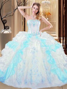 Designer Floor Length Lace Up Quinceanera Gowns Blue And White for Military Ball and Sweet 16 and Quinceanera with Embroidery and Ruffled Layers
