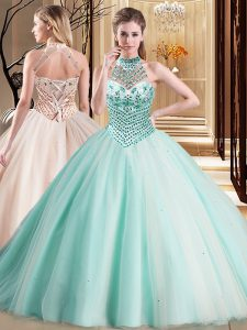 Enchanting Aqua Blue Lace Up Halter Top Beading Vestidos de Quinceanera Tulle Sleeveless Brush Train