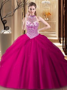 Ideal Halter Top Sleeveless Tulle With Brush Train Lace Up Quinceanera Gowns in Fuchsia with Beading and Pick Ups