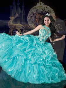 Enchanting Pick Ups Floor Length Aqua Blue Quince Ball Gowns Bateau Sleeveless Lace Up