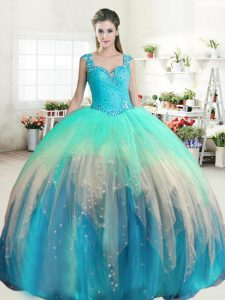 Straps Floor Length Zipper Quinceanera Dress Multi-color for Military Ball and Sweet 16 and Quinceanera with Beading and Ruffled Layers