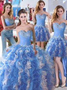 Sexy Four Piece Sweetheart Sleeveless Lace Up Quinceanera Dress Blue And White Organza