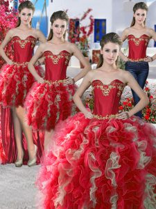Four Piece Red Organza Lace Up Quinceanera Gowns Sleeveless Floor Length Beading