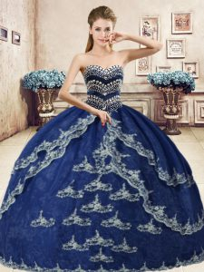 Navy Blue Sweetheart Lace Up Beading and Appliques Quinceanera Gowns Sleeveless