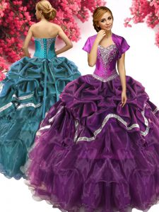 Affordable Dark Purple Sleeveless Floor Length Beading and Ruffles and Pick Ups Lace Up Quinceanera Dress