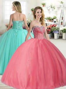 Glamorous Beading Quinceanera Gowns Pink Lace Up Sleeveless Floor Length