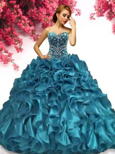 Teal Sleeveless Floor Length Beading and Ruffles Lace Up Quinceanera Gowns