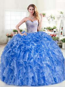 Best Ball Gowns 15th Birthday Dress Blue Sweetheart Organza Sleeveless Floor Length Lace Up