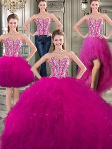 Three Piece Sweetheart Sleeveless Lace Up 15th Birthday Dress Fuchsia Tulle