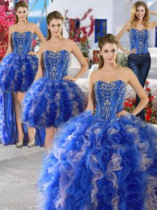 Dynamic Four Piece Blue Organza Lace Up Sweet 16 Dress Sleeveless Floor Length Beading