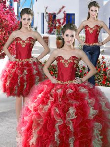 Three Piece Sweetheart Sleeveless Lace Up Quince Ball Gowns Red Organza