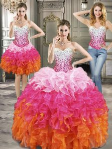 Top Selling Three Piece Multi-color Lace Up Ball Gown Prom Dress Beading Sleeveless Floor Length