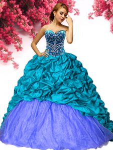 Edgy Teal Lace Up Sweet 16 Quinceanera Dress Beading and Pick Ups Sleeveless Brush Train