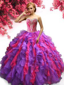 Multi-color Sweetheart Neckline Ruffles Quinceanera Gowns Sleeveless Lace Up