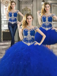 Three Piece Off the Shoulder Royal Blue Ball Gowns Beading and Ruffles Ball Gown Prom Dress Lace Up Tulle Sleeveless Floor Length
